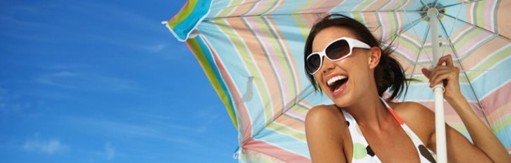 vakantie, vrouw, parasol